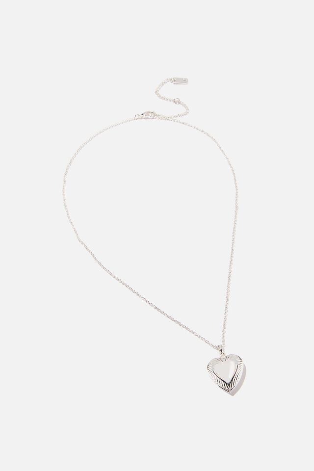 Premium Treasures Necklace, STERILNG SILVER PLATED HEART LOCKET
