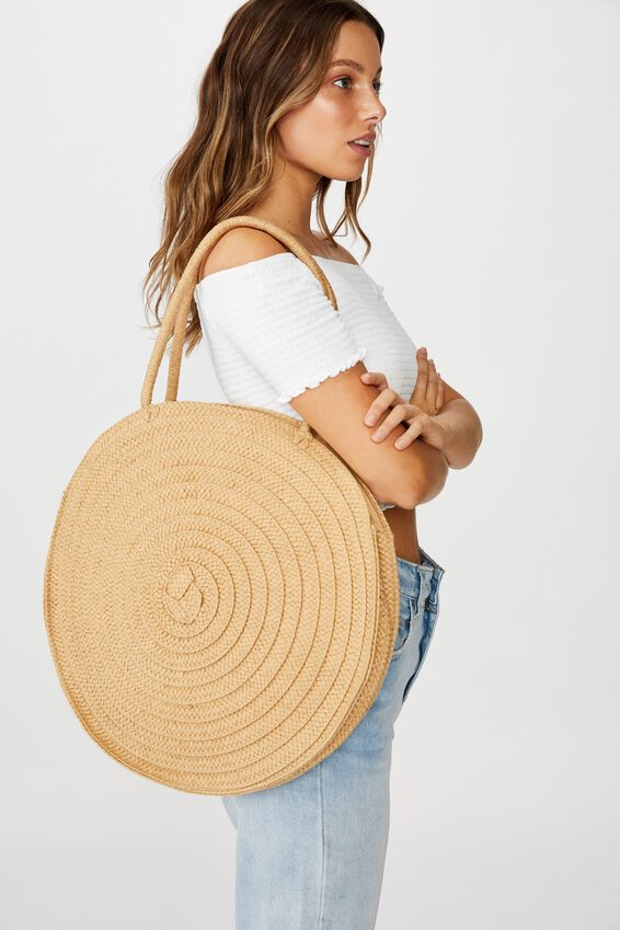 Round And Round Large Tote, NATURAL