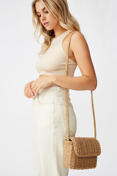 Boxy Woven Cross Body Bag, NATURAL