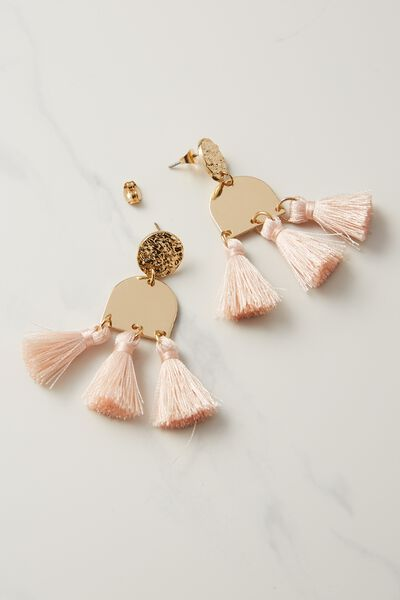 Kingsley Metal Tassel Statement Earring, PINK