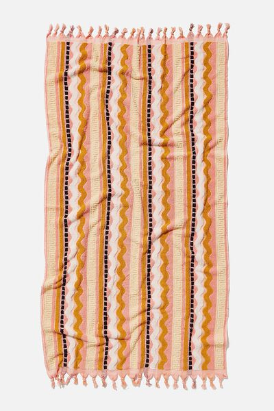Cable Beach Towel, PINK WAVES