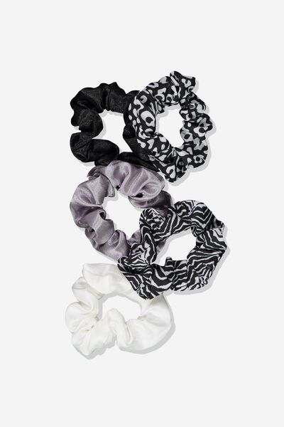5Pk Scrunchies, BLACK/WHITE LEOPARD/ZEBRA