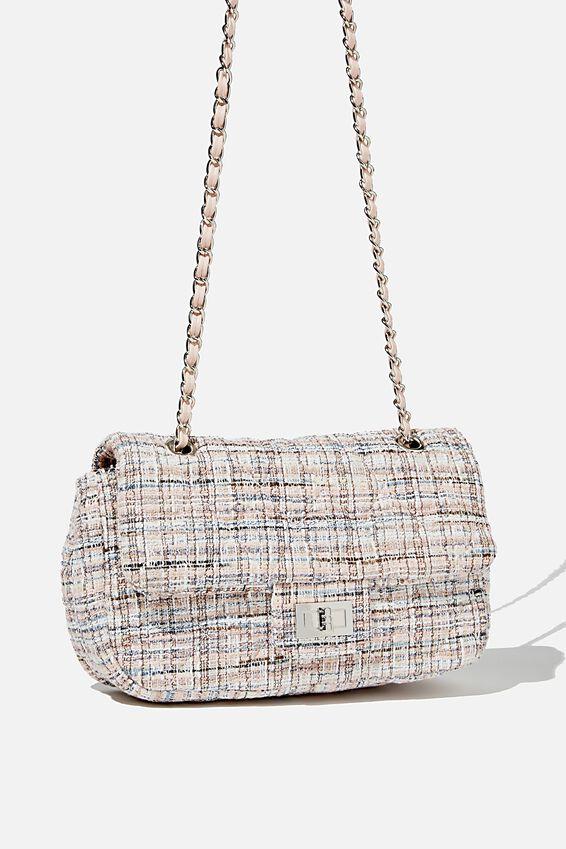 Hailey Quilted Cross Body Bag, PINK/ECRU TWEED