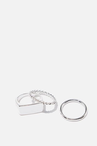 Luxe Layers Bar Ring Set, SILVER