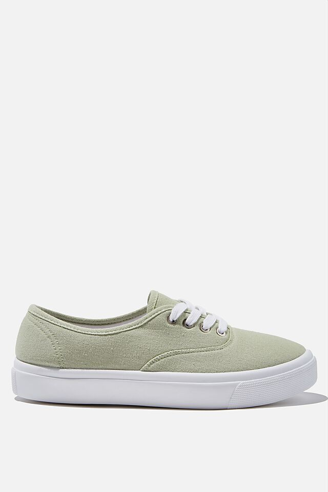 Jamie Lace Up Plimsoll, LIGHT GREEN