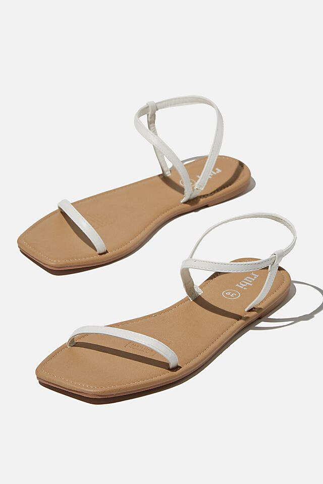 Everyday Eden Fine Strap Sandal, WHITE PU