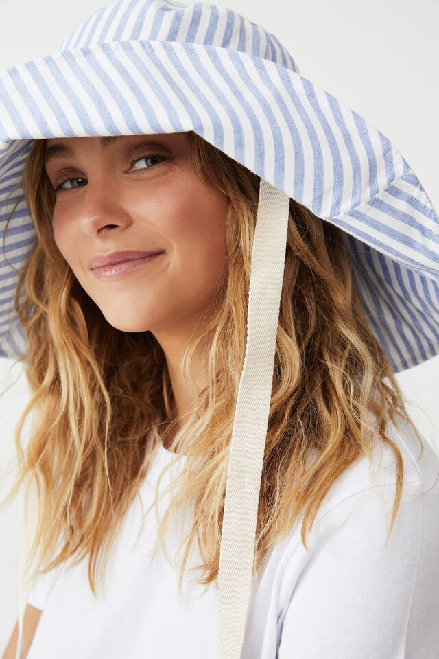 Alice Wide Brim Sun Hat, WASHED BLUE STRIPE