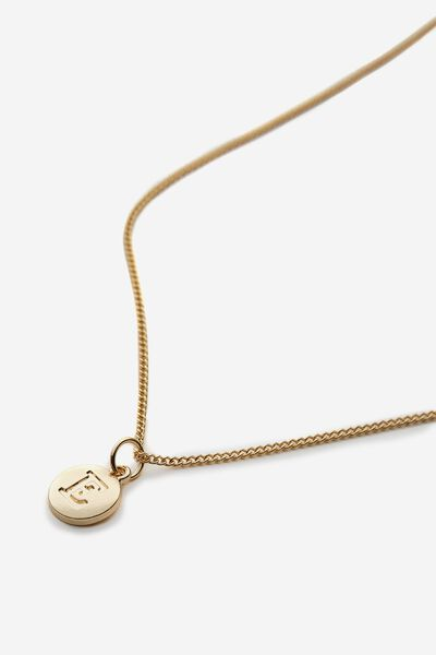 Letter Charm Necklace, GOLD E