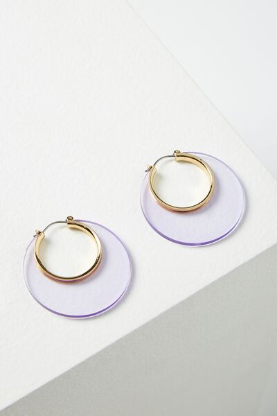 Cheshire Earring, TINTED LILAC/GOLD