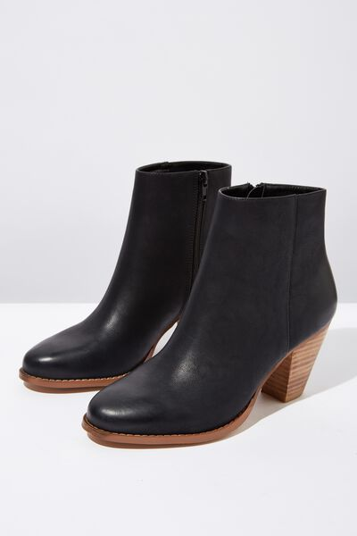Isabelle Heeled Ankle Boot, BLACK SMOOTH
