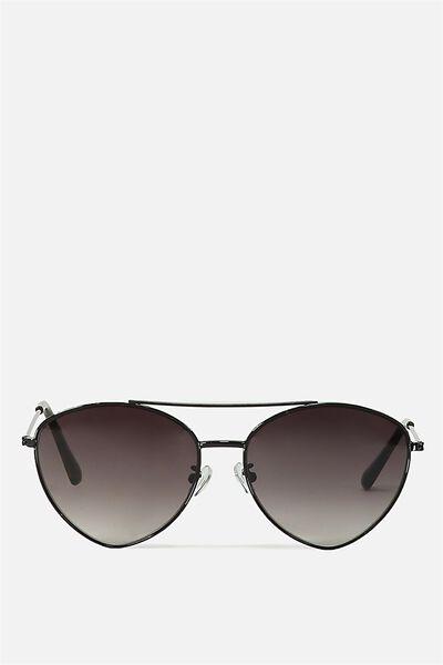 Olivia Fashion Aviator Sunglasses, S.BLACK