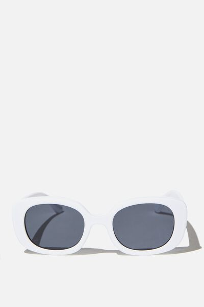 Jade Square Sunglasses, WHITE