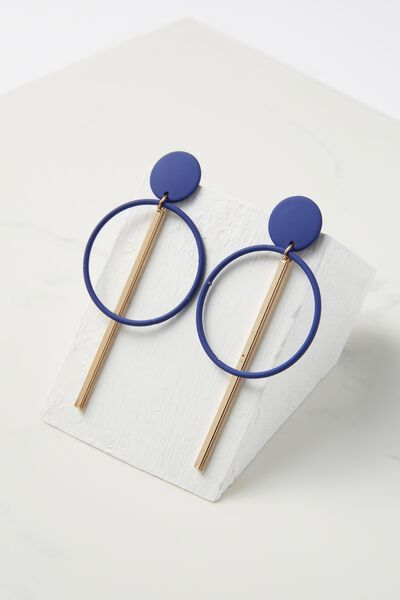 Coloured Double Hoop Statement Earring, ELECTRIC BLUE