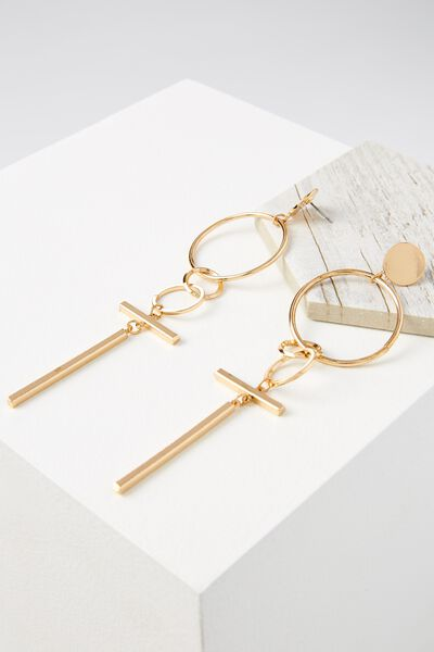 T-Bar Statement Earring, GOLD