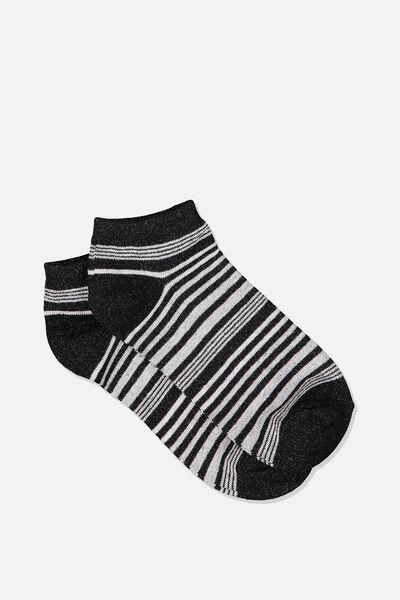 Get Shorty Ankle Sock, BLACK/GREY VERIGATED STRIPE