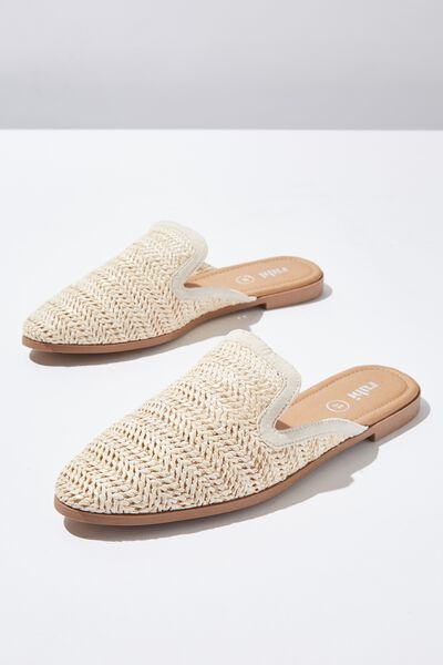 Shade Raffia Mule, OFF WHITE