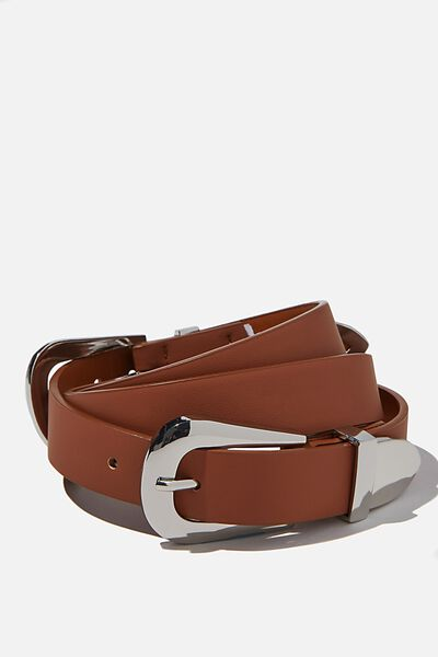 Double Western Buckle Belt, TAN/ SILVER