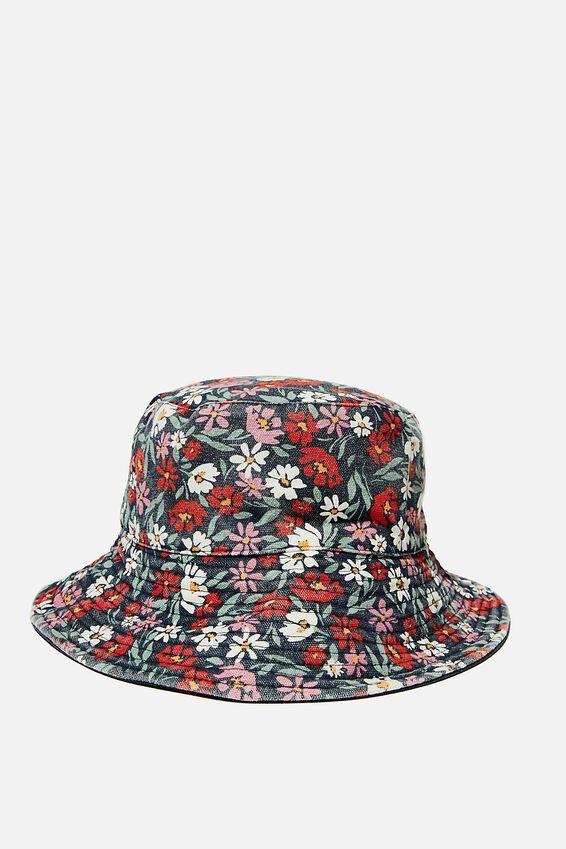 Elly Reversible Wide Brim Bucket Hat, NAVY LAURA FLORAL
