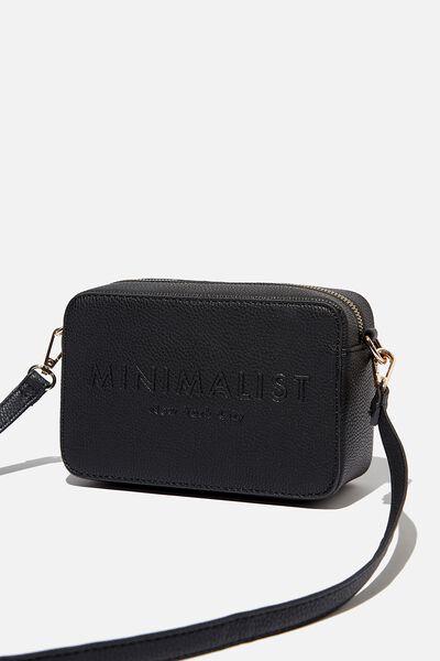 Stevie Boxy Cross Body Bag, BLACK MINIMALIST