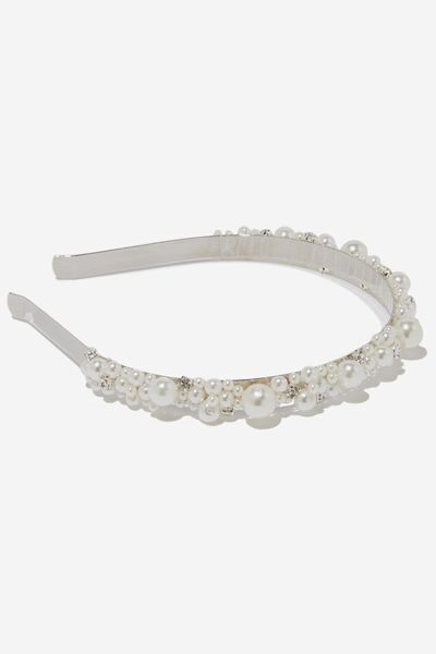 Baubles Pearl Hair Band, SILVER