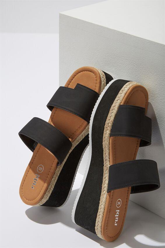 Jewel Toe Loop Flatform, BLACK