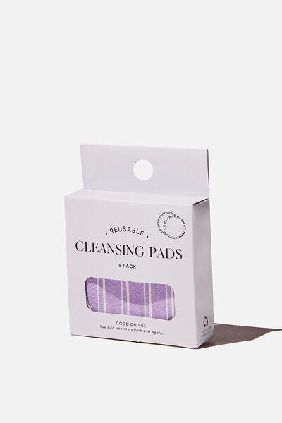 Reusable Cleansing Pads 8Pk, LORETTA STRIPE/LILAC BLOSSOM
