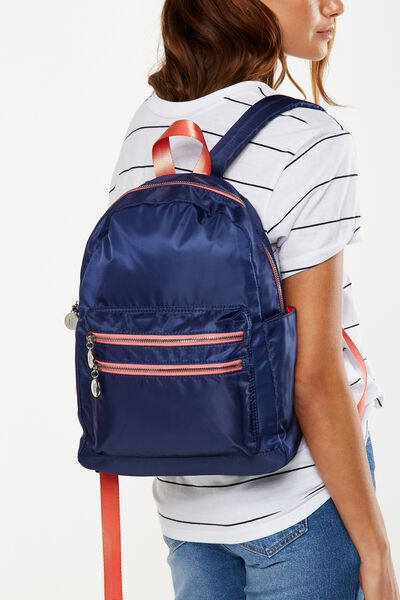Explorer Backpack, NAVY WITH CORAL