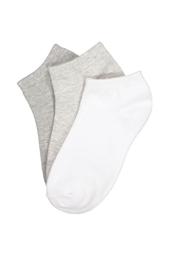 3Pk Ankle Sock, GREY MIX
