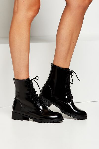 Petra Lace Up Boot, BLACK