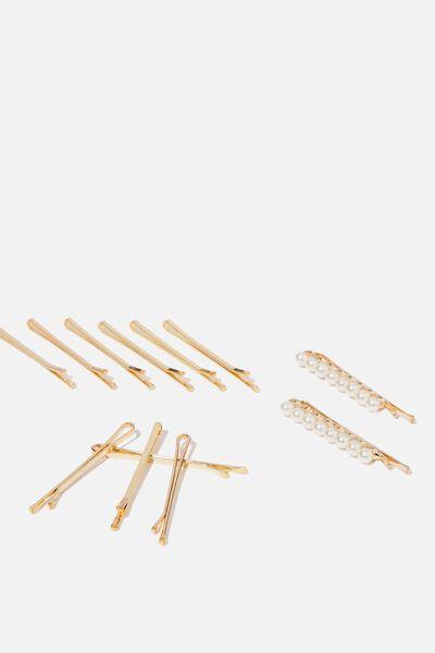Betty Pearl Hair Pins, PEARL/GOLD