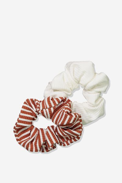 2Pk Scrunchie, RUST/WHITE STRIPE RIB