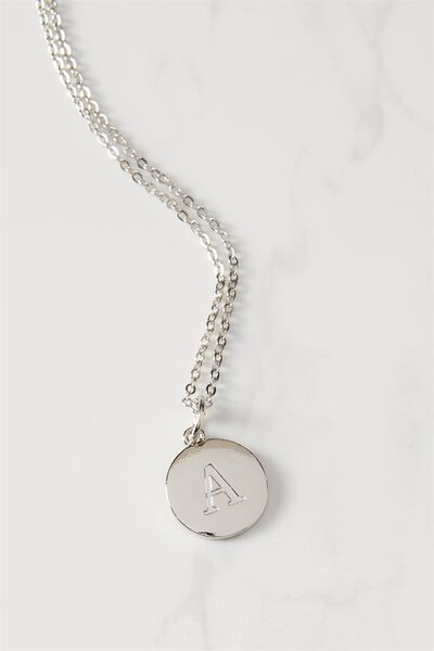 Letter Flat Pendant Necklace, SILVER - A