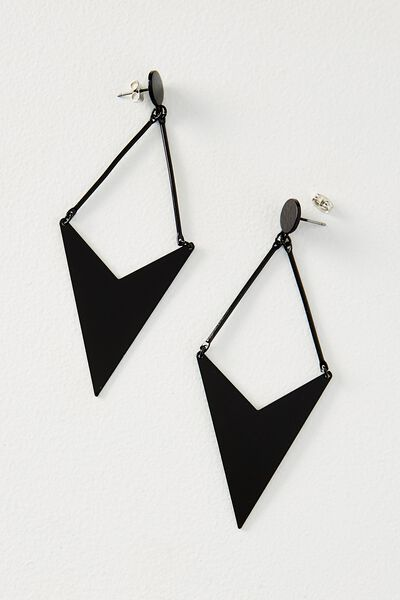 Geo Arrow Metal Earring, BLACK