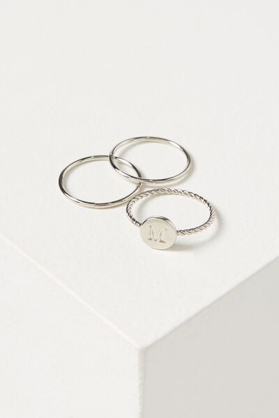 Letter Pendant Ring, SILVER - M