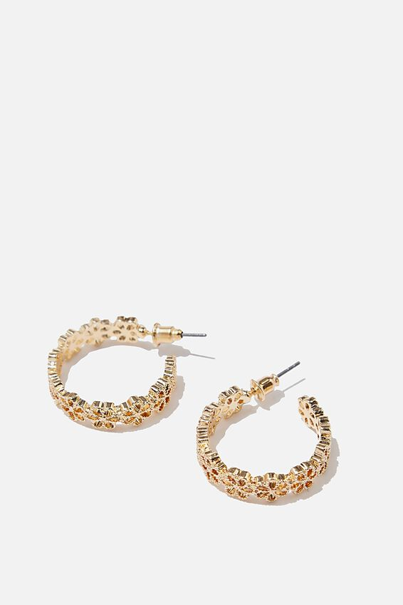 Luxe Layers Medium Daisy Chain Hoop, GOLD