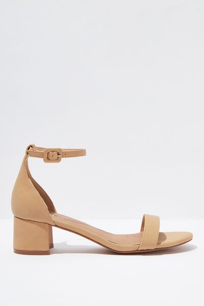 Lizzie Low Block Heel, CINNAMON NUBUCK