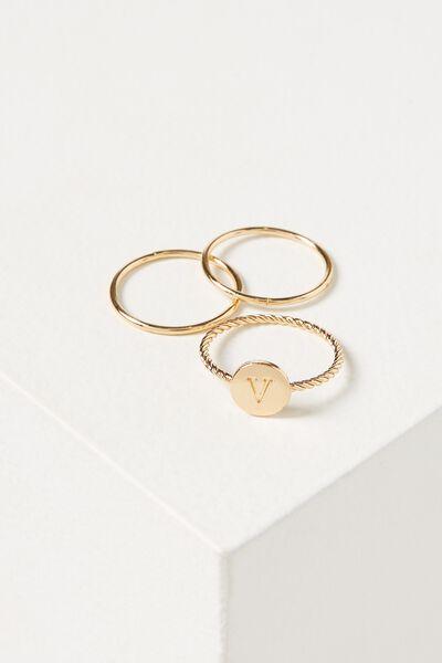Letter Pendant Ring, GOLD - V