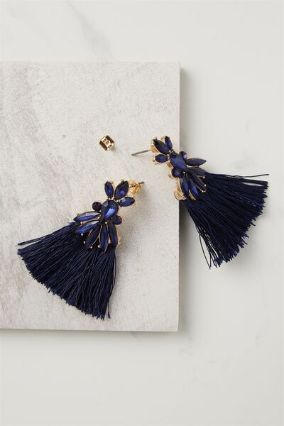 Dressy Triple Tassel Earring, NAVY