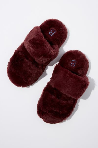 Double Strap Fluff Slipper, BLACKBERRY