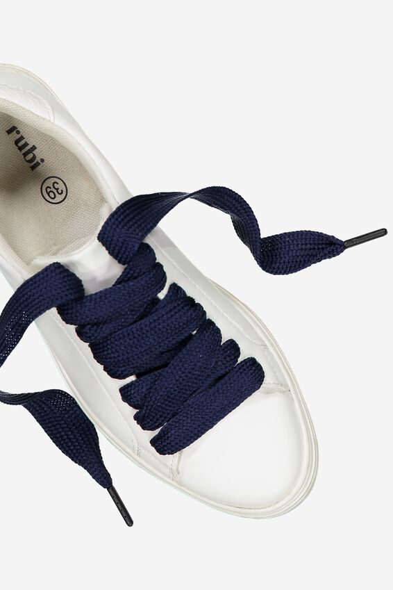 Laced Up Shoelaces, NAVY HERRINGBONE