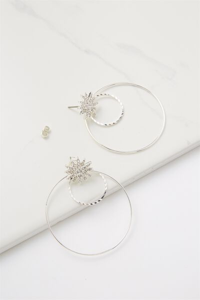 Penny Star And Hoop Earring, SILVER