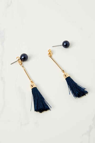 Pearl Single Tassel Earring, NAVY