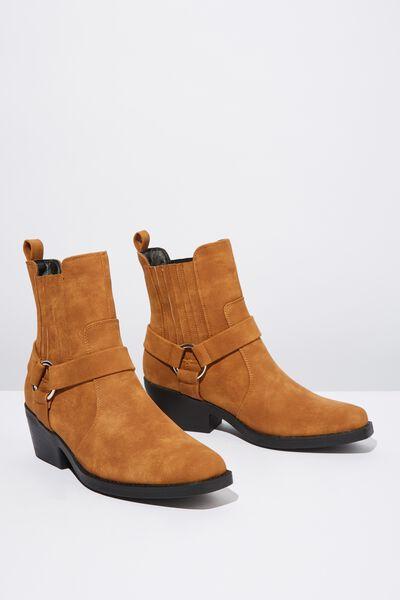 Tara Square Toe Harness Boot, TAN SMOOTH PU