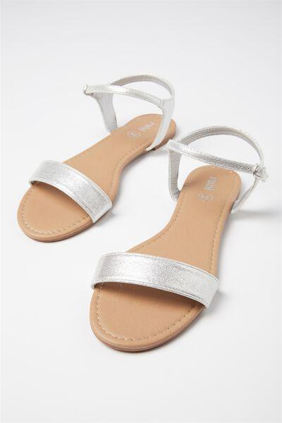 Everyday Thin Strap Sandal, SILVER PU