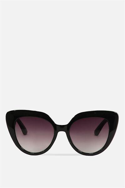 Violet Cateye Sunglasses, BLACK