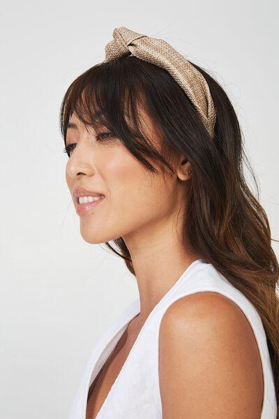 Olivia Oversized Knot Headband, MID NATURAL WOVEN