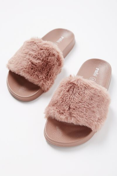 Wild Slide, MISTY ROSE FAUX FUR