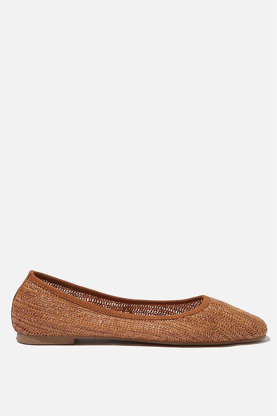 Essential Carina Square Toe Ballet, TAN RAFFIA