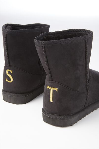 Personalised Short Home Boot, BLACK