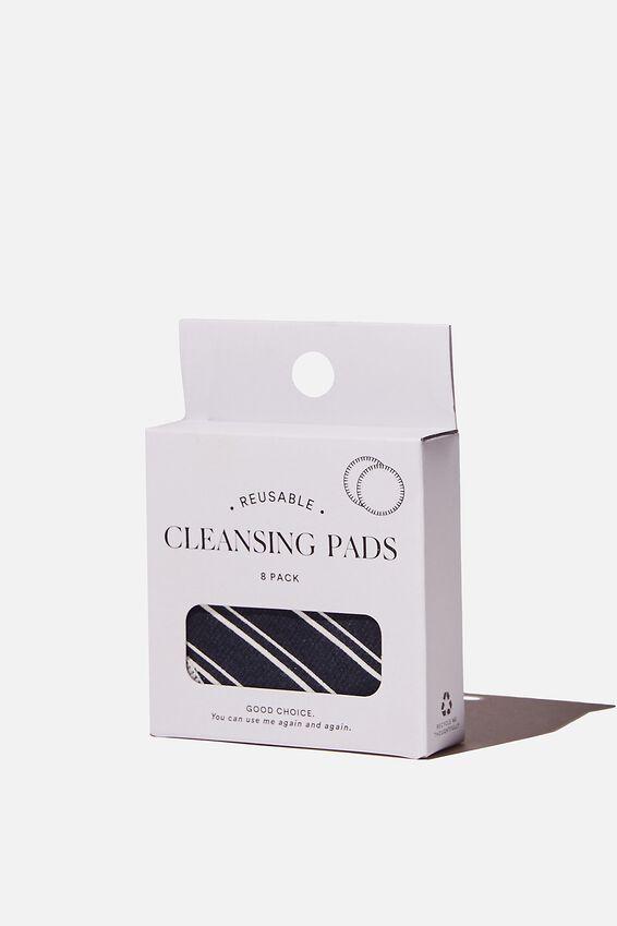 Reusable Cleansing Pads 8Pk, LORETTA STRIPE/MIDNIGHT